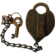 Southern Pacific Brass Heart Shaped Railroad Lock