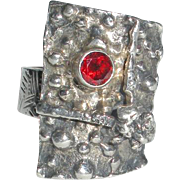 Modernist Sterling Silver Ring with Dark Red Stone
