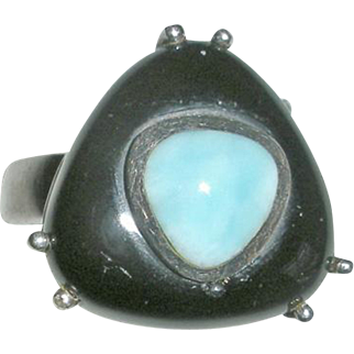 Sterling Silver Ring with Onyx and Larimar