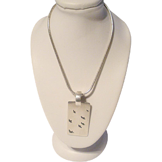 Sterling Silver Modernist Designer Pendant Necklace