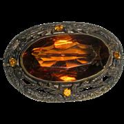 Antique Amber Glass Brooch
