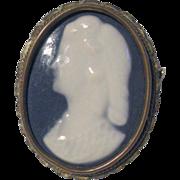 Vintage Limoges Porcelain Cameo Pin