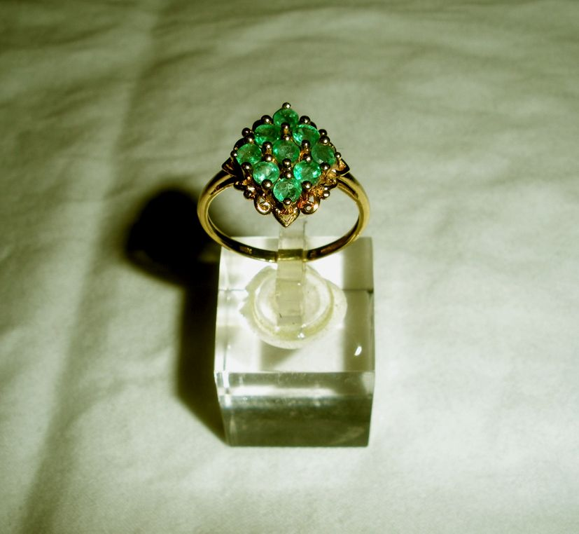 10k gold emerald ring from onostalgia on ruby