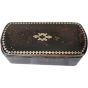 Papier Mache and Silver Inlay Old Snuff Box