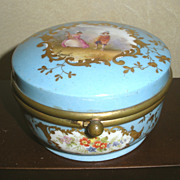 Hand-Painted Blue Ceramic Dresser Jar or Trinket Box, Signed
