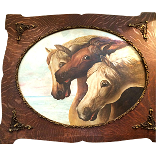 Signed 19th Century Oil on Board Painting of Three Horses
