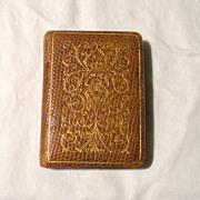 Vintage Compact: Unique Book Shape in Leather