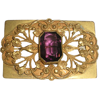 Vintage Gold Tone Brooch With Large Amethyst
