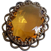Vintage Amber Stone Pin