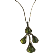 Sterling Silver Peridot Green Pendant Necklace
