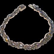 Art Deco Sterling Silver Bracelet with Cabochon Gemstones