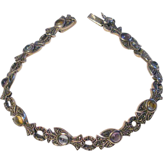 Art Deco Sterling Silver Bracelet with Cabochon Gemstones