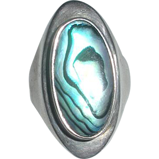 Vintage Sterling Ring with Teal Blue Green Abalone