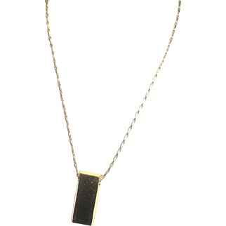 Goldplated Gold Ingot Bar Pendant Necklace