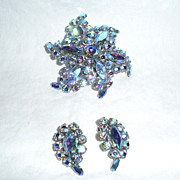 Vintage Sherman Blue A.B. Brooch and Earrings Set