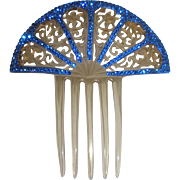 Fancy Lucite and Blue Stone Hair Comb
