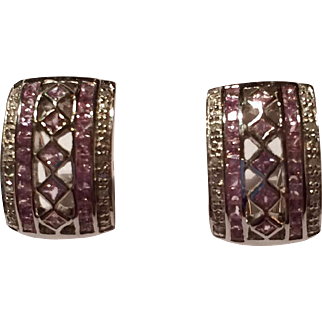 White Gold Pink Sapphire and Diamond Earrings