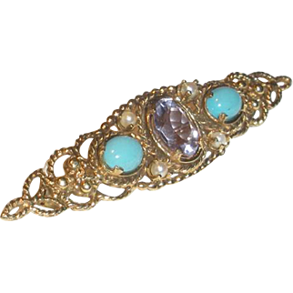 Gold Pin with Amethyst, Turquoise and Cultured Pearl