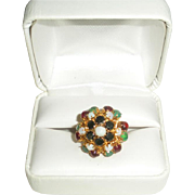Superb Cluster 14K Gold Ring with Sapphires, Opals, Green Chalcedonies, Rubies