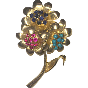 Large Gold Brooch with Rubies, Sapphires and Turquoises