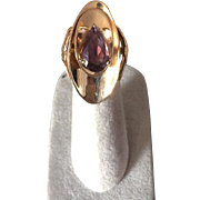 14K Gold Ring with Large Pear Cut Amethyst