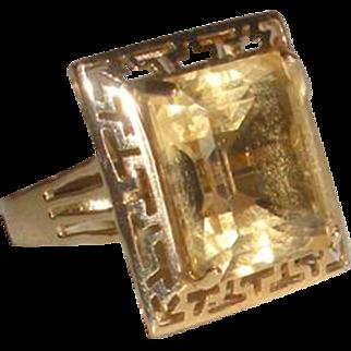Stunning Large Citrine 10K Gold Ring