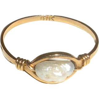 18 Karat YG Ring with Freshwater Cultured Pearl
