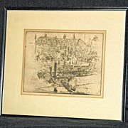 Lindsey Row in Chelsea an Etching by Joseph Pennell (1857-1926); Signed