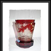 Bohemian Ruby Red Glass Beaker, Hunting Scene