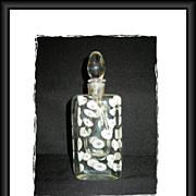 Heavy Italian Art Glass Scent Bottle White Coral Shells Encased