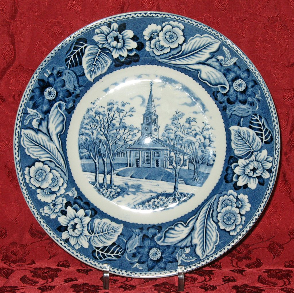 Plate by Wood & Sons: The Meeting House; Old Sturbridge Village, Mass.