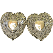 Pair Gorham Sterling Heart Shaped Bonbon Dish; Pattern 966