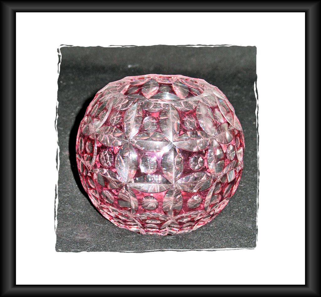 Cased Glass Bowl, Rose & Clear Glass