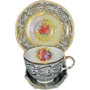 Royal Chelsea Fruit Centered Cup & Saucer, Signed by K. Cope