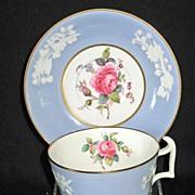 "Copeland Spode Cup & Saucer ""Maritime Rose"" Blue"