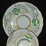 Royal Chelsea Fine Bone China White, Green & Gold
