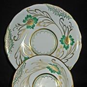 Royal Chelsea Fine Bone China White, Green & Gold
