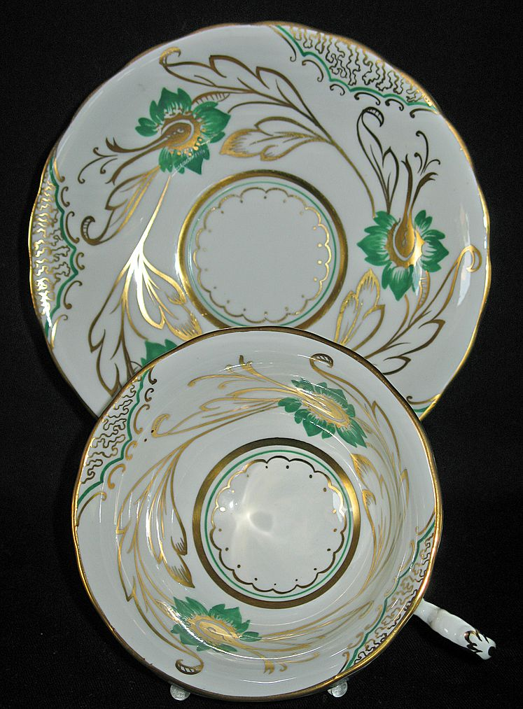 royal chelsea fine bone china white green gold from kcantiquecollect on ruby lane. Black Bedroom Furniture Sets. Home Design Ideas