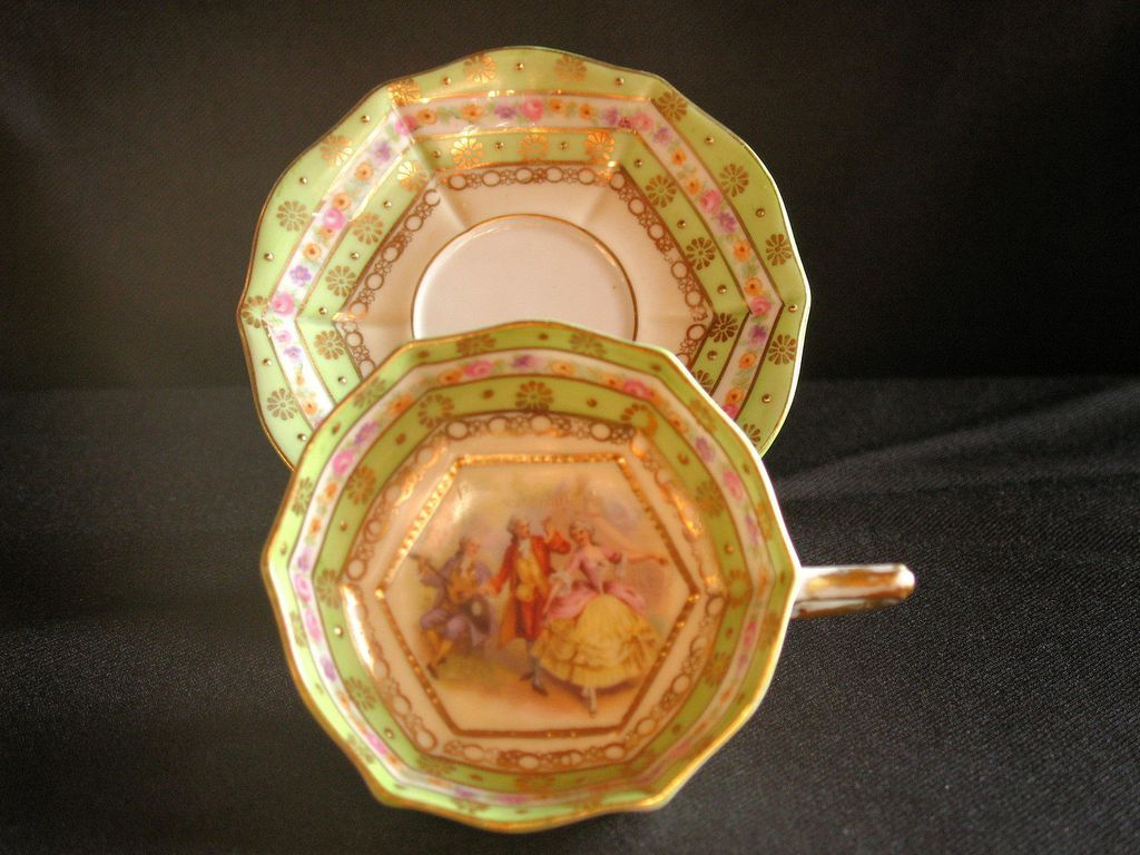 "Footed Demitasse Cup & Saucer by Ackermann & Fritze with ""court"" scene"