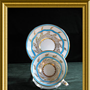 Charming Royal Chelsea  Turquoise, White and Gold Cup and Saucer, Pattern 265A, Circa  Mid-20th Century