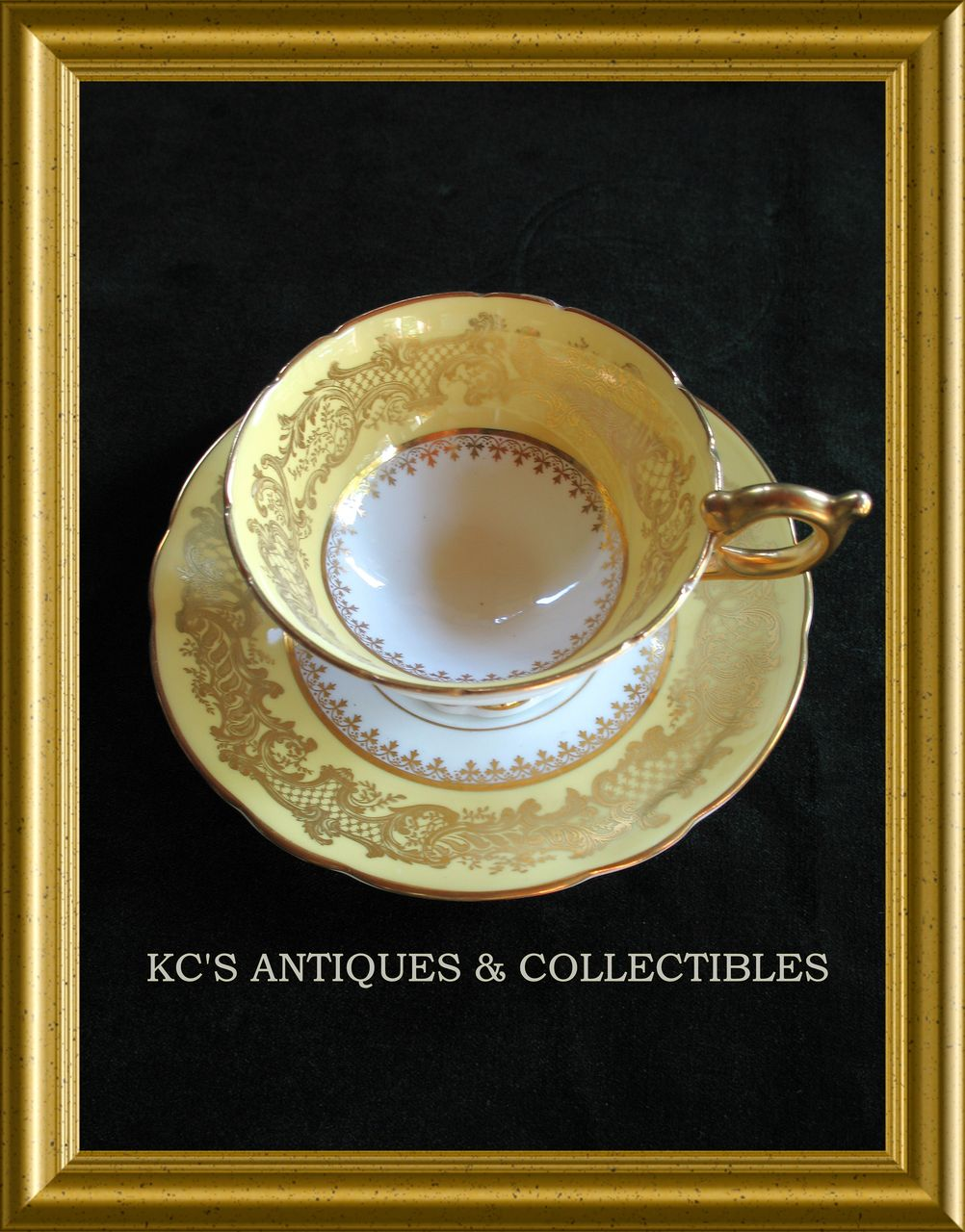 Lovely Coalport China Yellow ,Gold & White Cup and Saucer , circa Early 20th Century