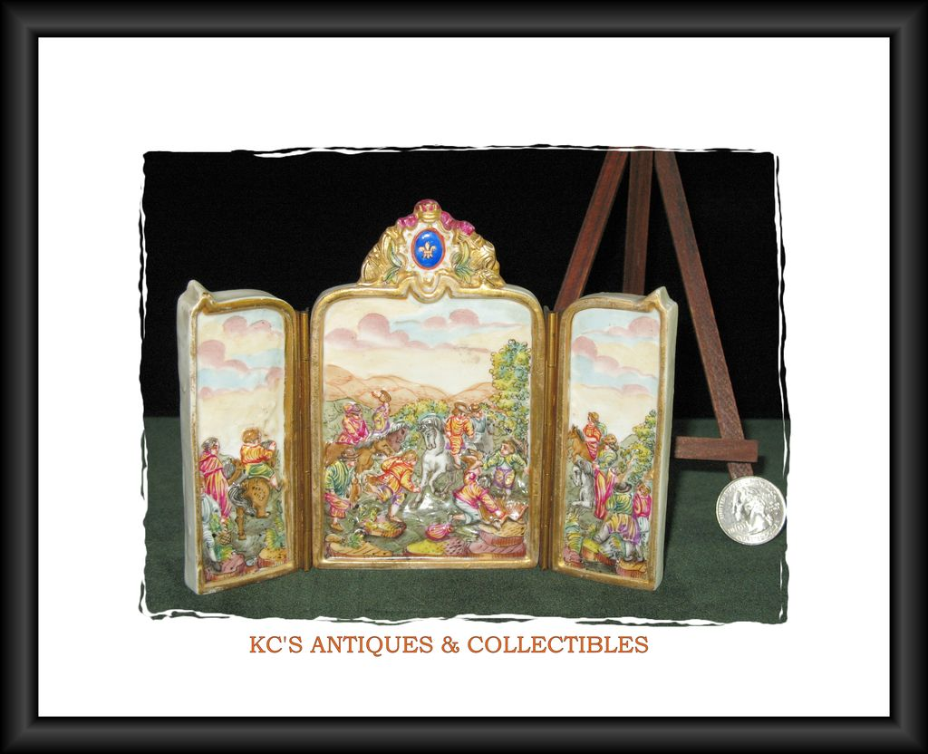 Rare CapodiMonte Miniature Folding Porcelain Screen with Bas-relief Country Scene