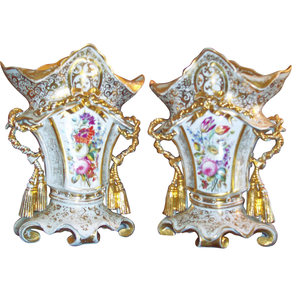 Pair of French Porcelain Empire Vases
