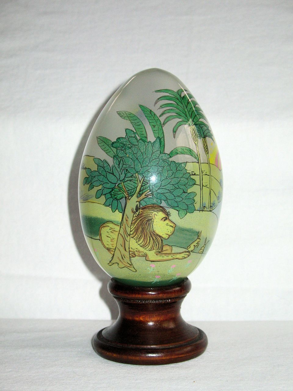 u201ctreasured visions u201d reverse  inside  painted glass egg with wooden from kcantiquecollect on ruby