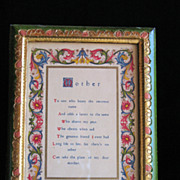 """Florentia Hand Painted Frame and Manuscript Titled """"Mother"""""""