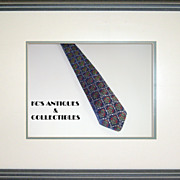 Vintage Blue Silk Necktie with Christmas Wreaths