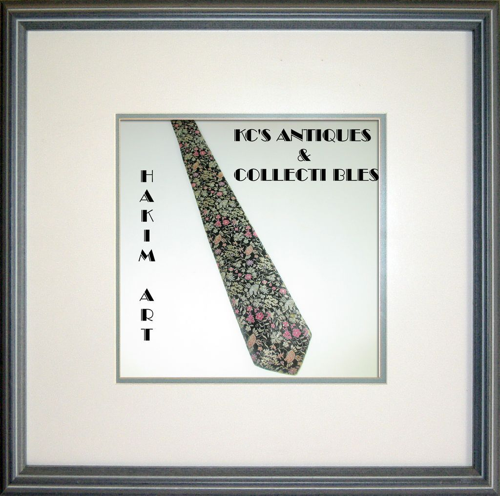 Black Necktie in Gold, Lavender, Pink, Peach with Imported Silk by Hakim Egyptian Art