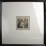 1906 German Etching by Fritz Ruppert Peasants & Potatoes Heinrich Wetteroth Print