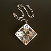 Vintage Hopi Sterling Overlay Growling Bear Necklace F. Puhuhefvaya