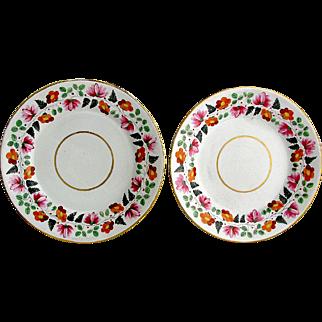 "Pr Antique English Derby Botanical 9"" Plates 1806-25"